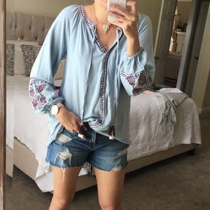 Blue and embroidered tunic/shirt dress